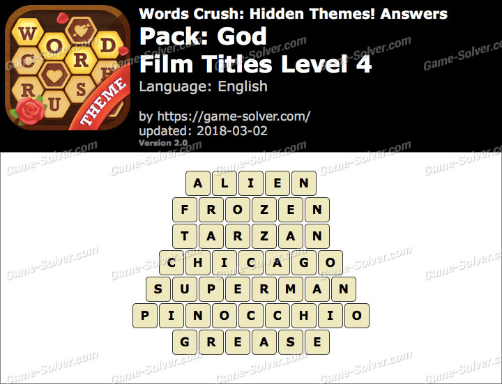 Words Crush God-Film Titles Level 4 Answers