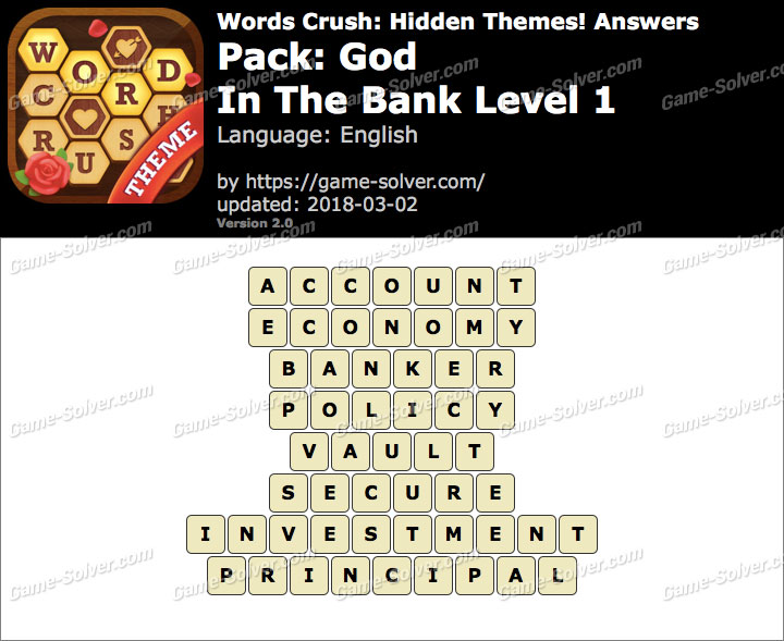Words Crush God-In The Bank Level 1 Answers