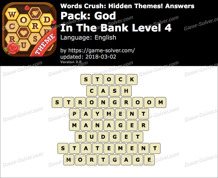 Words Crush God-In The Bank Level 4 Answers