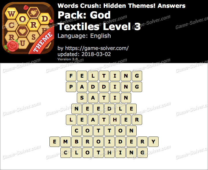 Words Crush God-Textiles Level 3 Answers