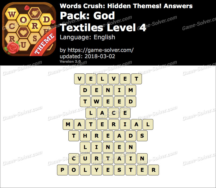 Words Crush God-Textiles Level 4 Answers