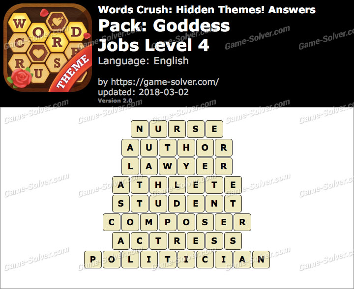 Words Crush Goddess-Jobs Level 4 Answers