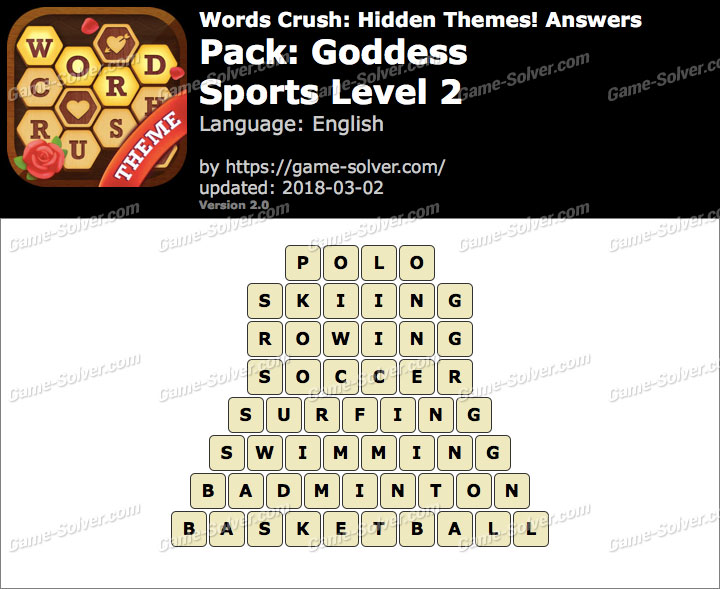 Words Crush Goddess-Sports Level 2 Answers