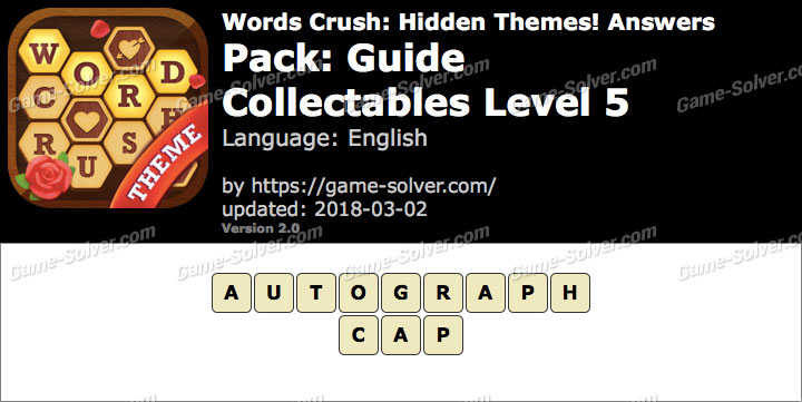 Words Crush Guide-Collectables Level 5 Answers