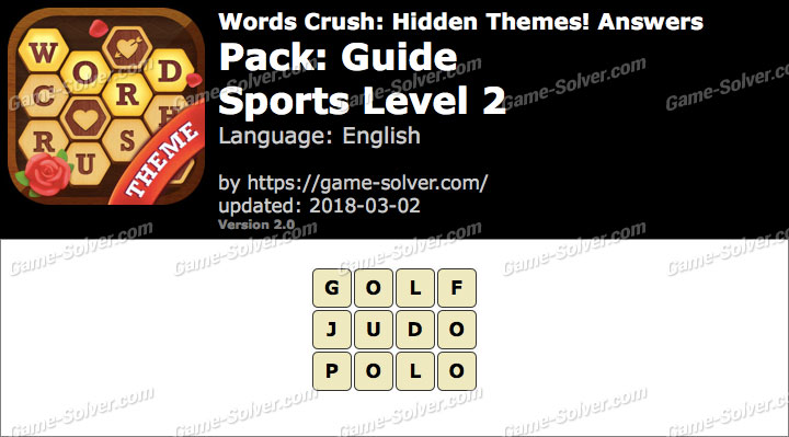 Words Crush Guide-Sports Level 2 Answers