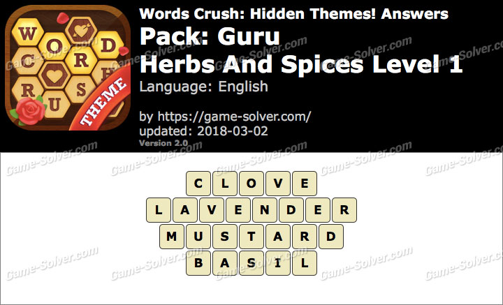 Words Crush Guru-Herbs And Spices Level 1 Answers
