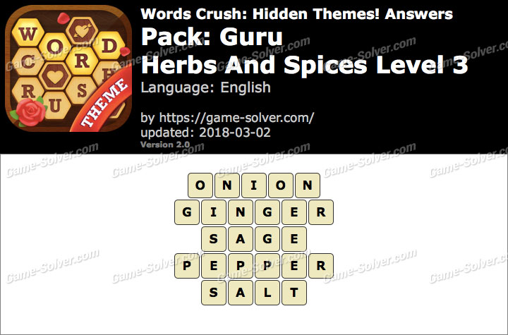 Words Crush Guru-Herbs And Spices Level 3 Answers