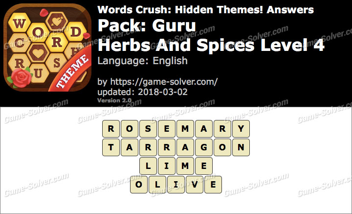 Words Crush Guru-Herbs And Spices Level 4 Answers