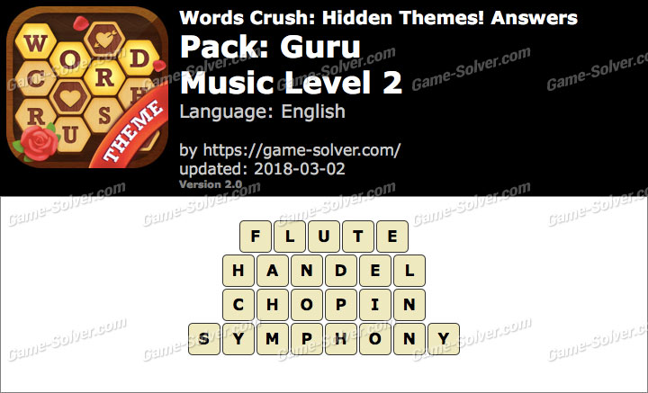 Words Crush Guru-Music Level 2 Answers