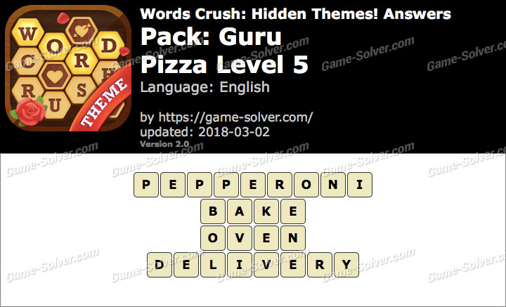 Words Crush Guru-Pizza Level 5 Answers