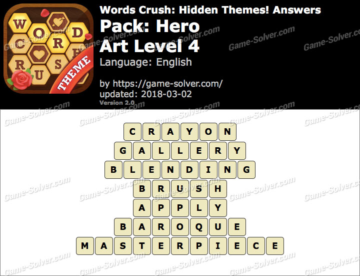 Words Crush Hero-Art Level 4 Answers