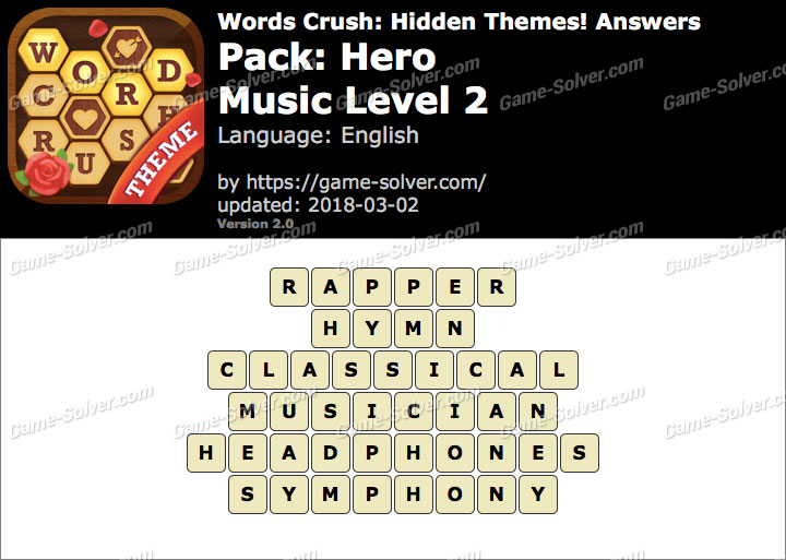 Words Crush Hero-Music Level 2 Answers