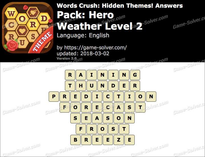 Words Crush Hero-Weather Level 2 Answers
