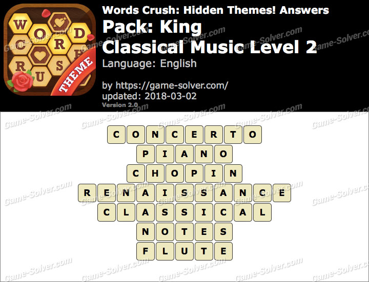Words Crush King-Classical Music Level 2 Answers