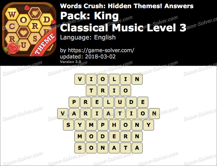 Words Crush King-Classical Music Level 3 Answers