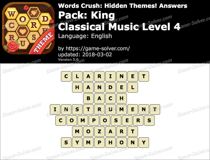 Words Crush King-Classical Music Level 4 Answers