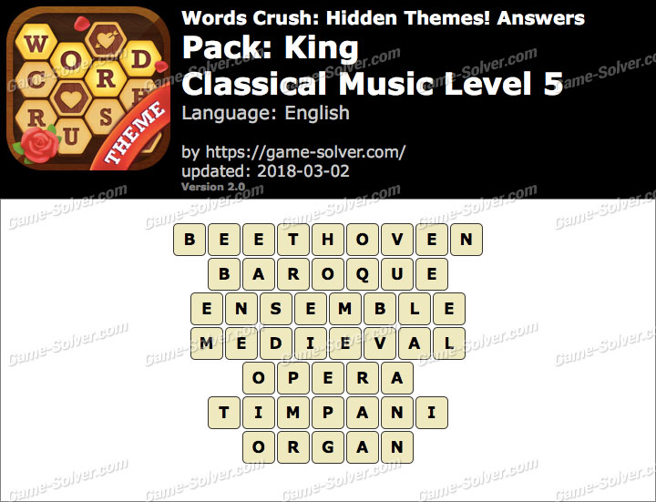 Words Crush King-Classical Music Level 5 Answers