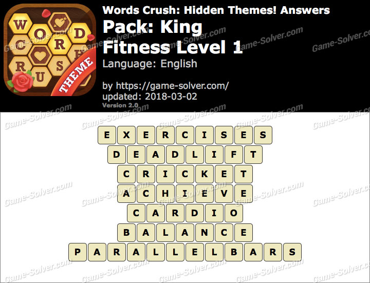 Words Crush King-Fitness Level 1 Answers