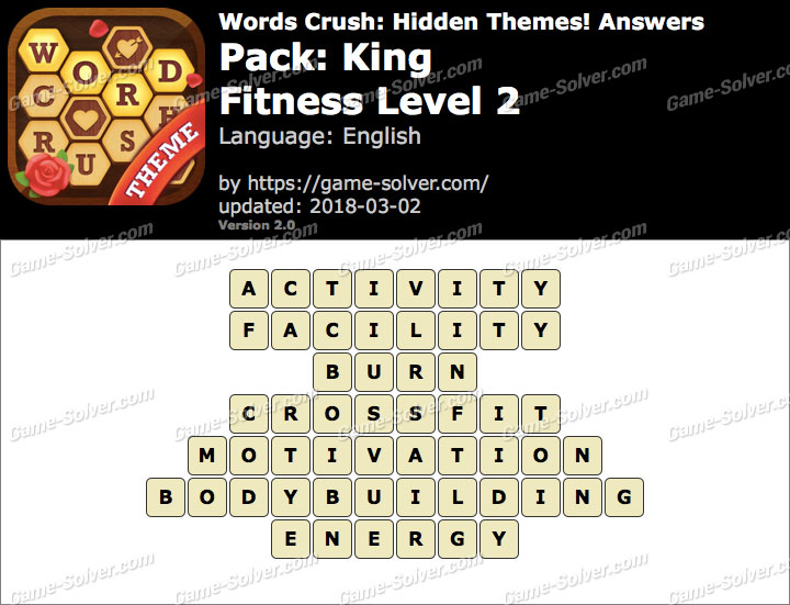 Words Crush King-Fitness Level 2 Answers