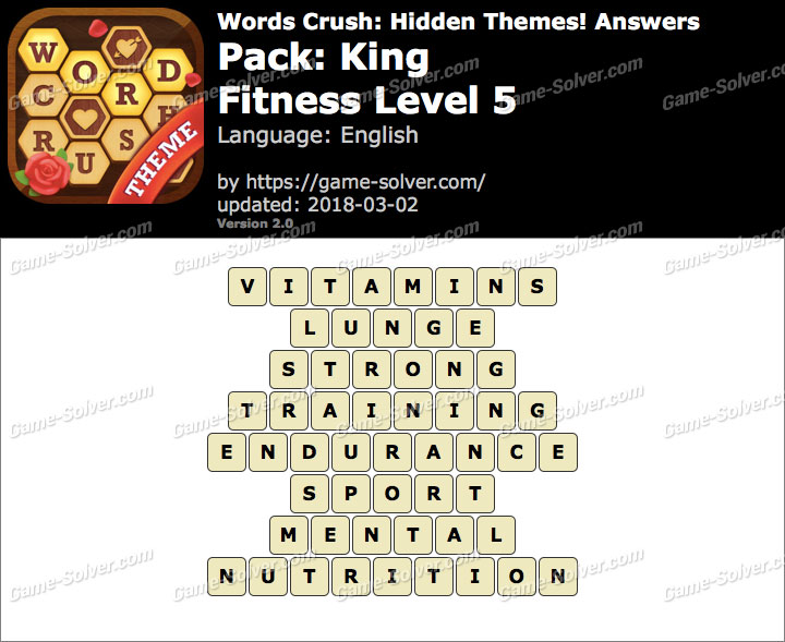 Words Crush King-Fitness Level 5 Answers