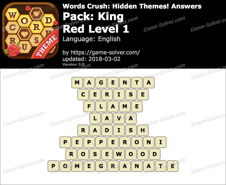 Words Crush King-Red Level 1 Answers