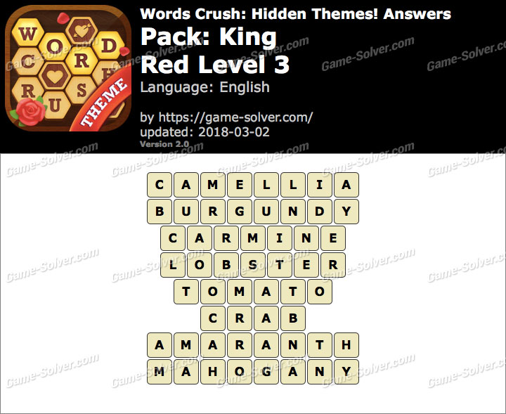 Words Crush King-Red Level 3 Answers
