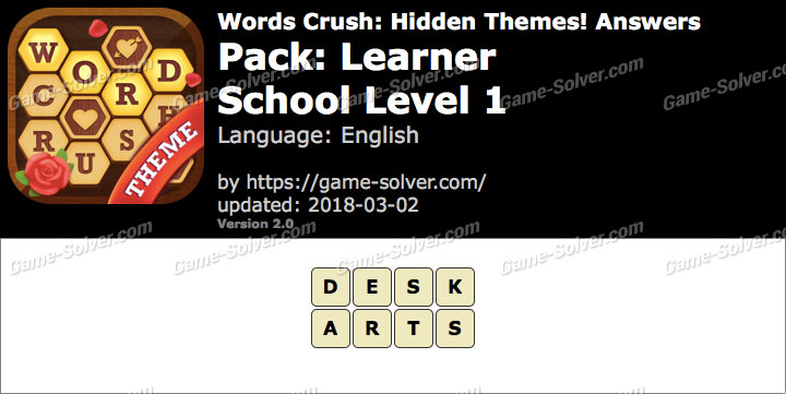 Words Crush Learner-School Level 1 Answers