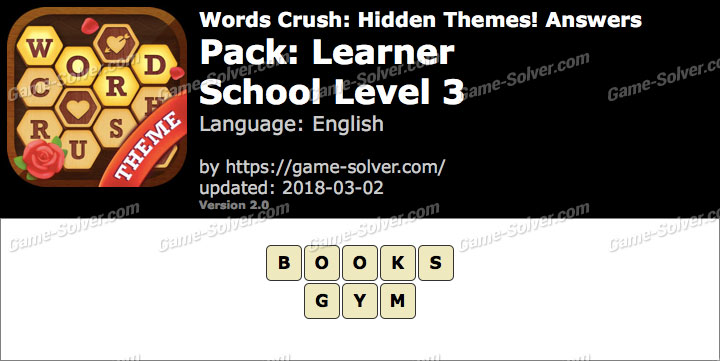 Words Crush Learner-School Level 3 Answers
