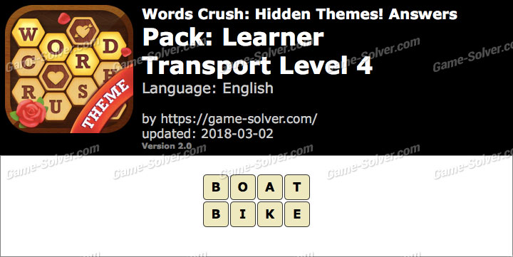 Words Crush Learner-Transport Level 4 Answers
