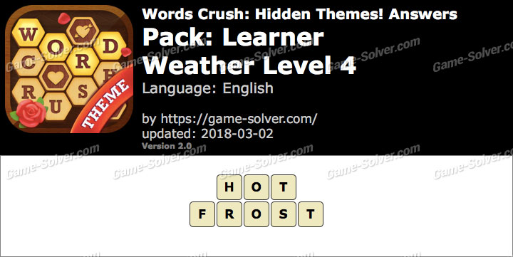 Words Crush Learner-Weather Level 4 Answers