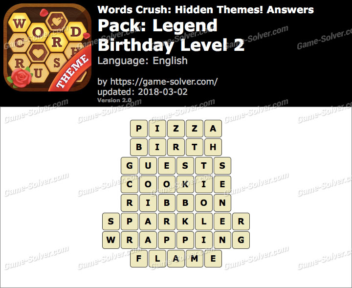Words Crush Legend-Birthday Level 2 Answers