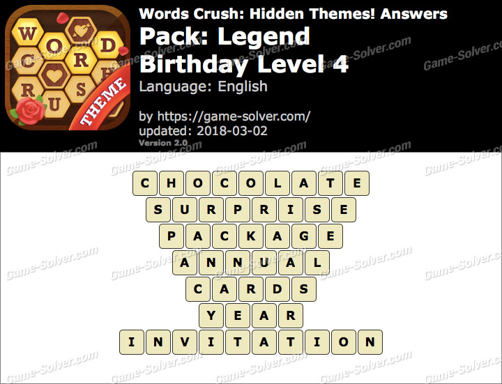Words Crush Legend-Birthday Level 4 Answers