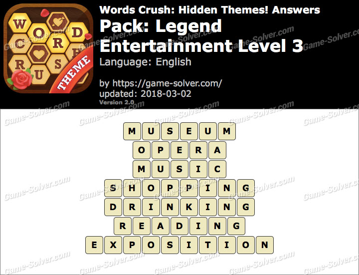 Words Crush Legend-Entertainment Level 3 Answers