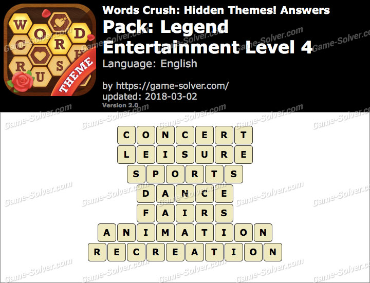 Words Crush Legend-Entertainment Level 4 Answers