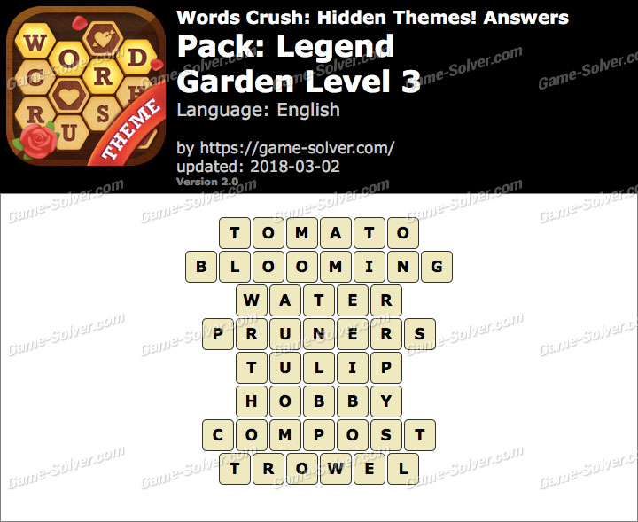 Words Crush Legend-Garden Level 3 Answers