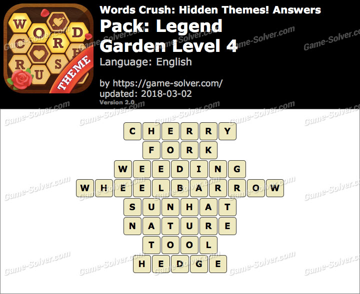 Words Crush Legend-Garden Level 4 Answers