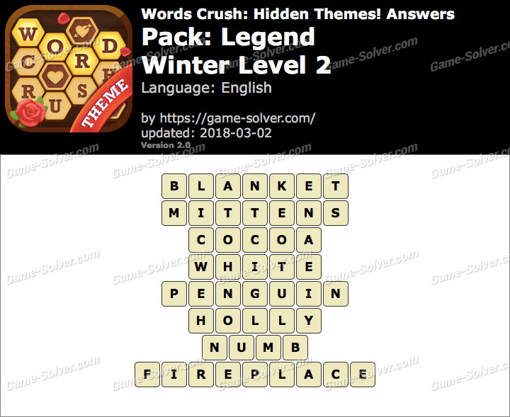 Words Crush Legend-Winter Level 2 Answers