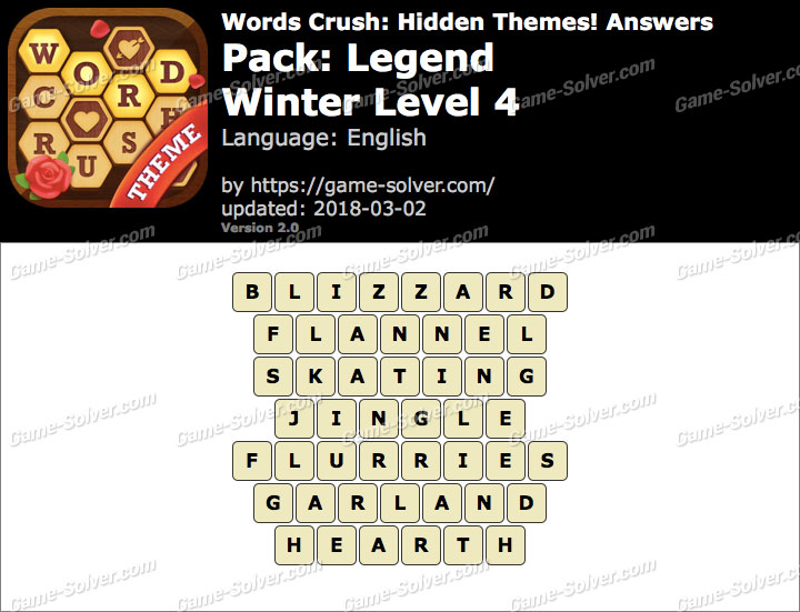 Words Crush Legend-Winter Level 4 Answers