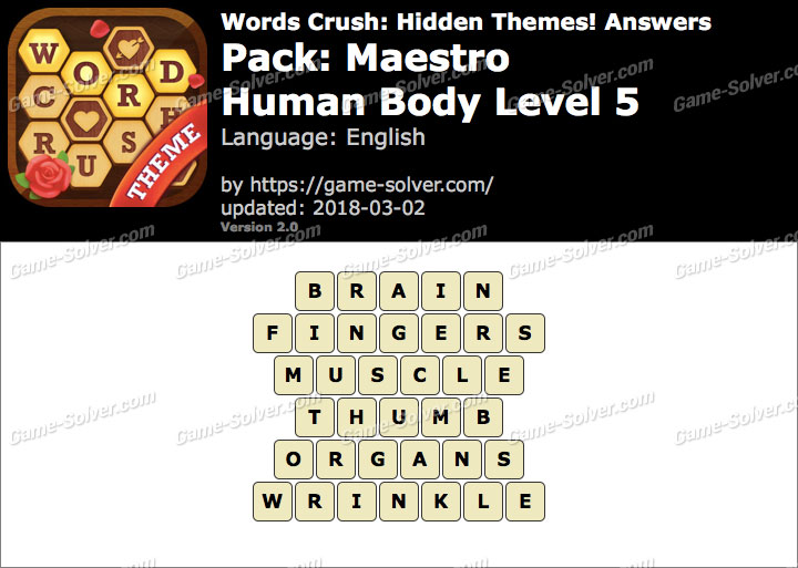 Words Crush Maestro-Human Body Level 5 Answers