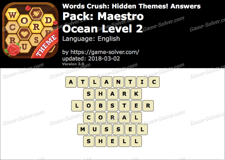 Words Crush Maestro-Ocean Level 2 Answers
