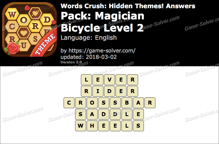 Words Crush Magician-Bicycle Level 2 Answers