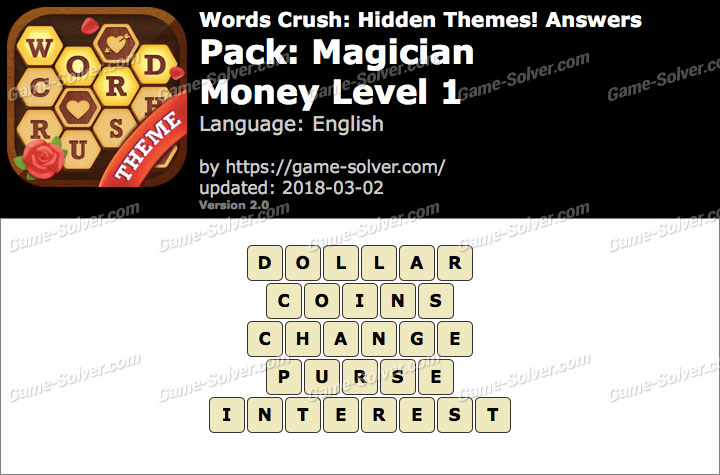 Words Crush Magician-Money Level 1 Answers