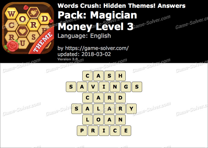 Words Crush Magician-Money Level 3 Answers