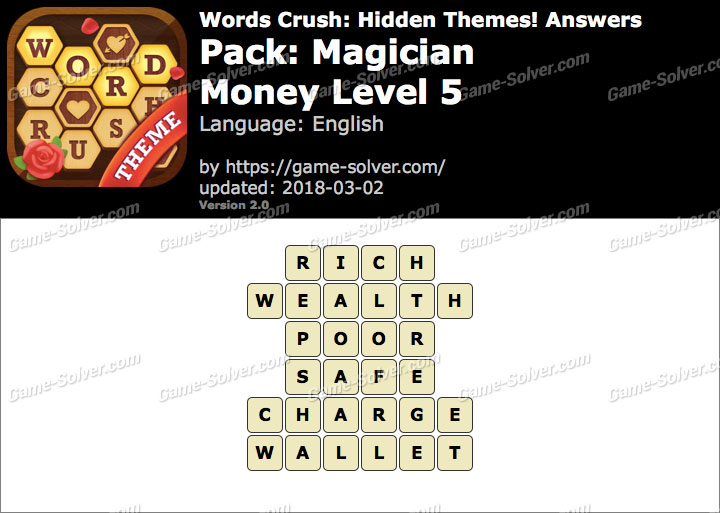 Words Crush Magician-Money Level 5 Answers