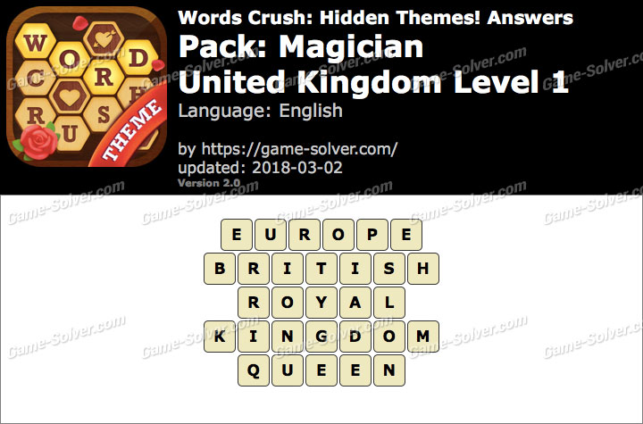 Words Crush Magician-United Kingdom Level 1 Answers
