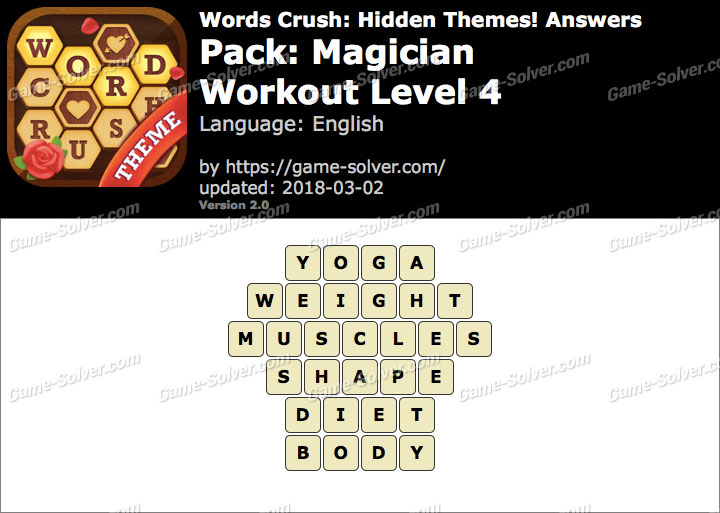 Words Crush Magician-Workout Level 4 Answers