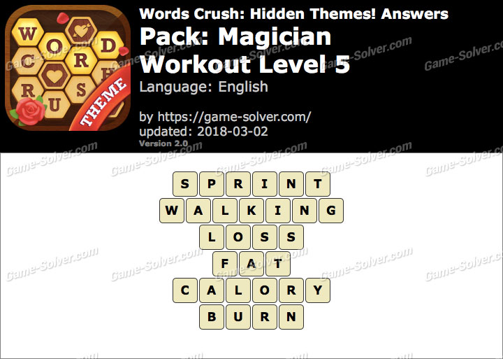 Words Crush Magician-Workout Level 5 Answers
