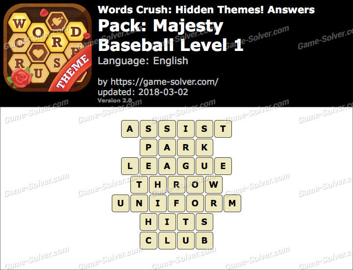 Words Crush Majesty-Baseball Level 1 Answers