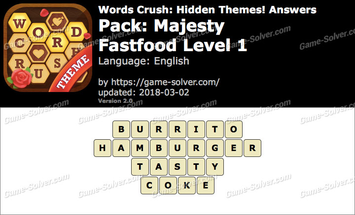 Words Crush Majesty-Fastfood Level 1 Answers