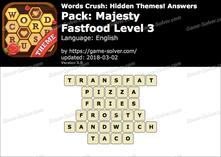 Words Crush Majesty-Fastfood Level 3 Answers